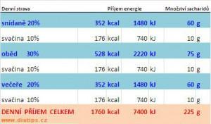 Energetický příjem - moje tabulka