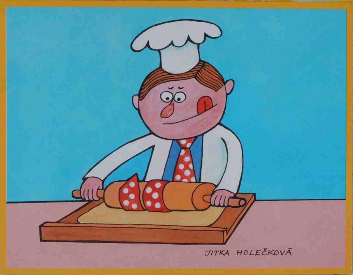 kuchař válí těsto a zamotala se mu do něj kravata