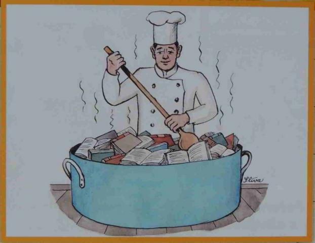 kuchař v obrovském hrnci vaří kuchařky