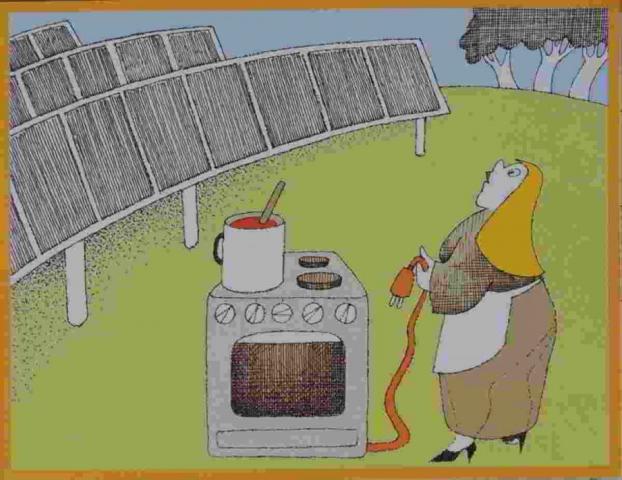 kuchařka vaří na elekrickém sporáku na trávníku blízko slunečních kolektorů
